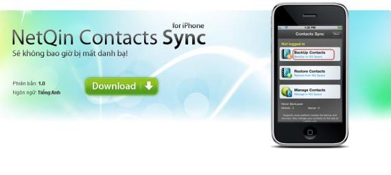 Hình: NetQin Contact Sync dành cho iOS